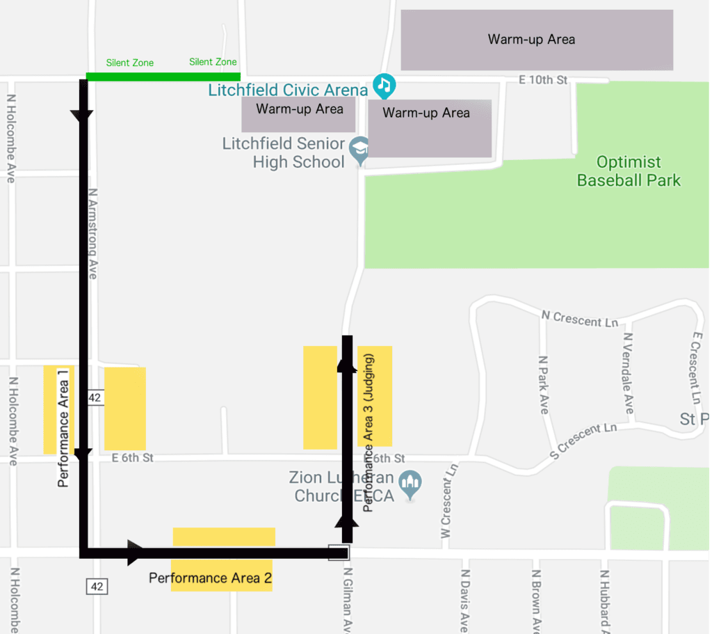 Litchfield Parade of Bands Map